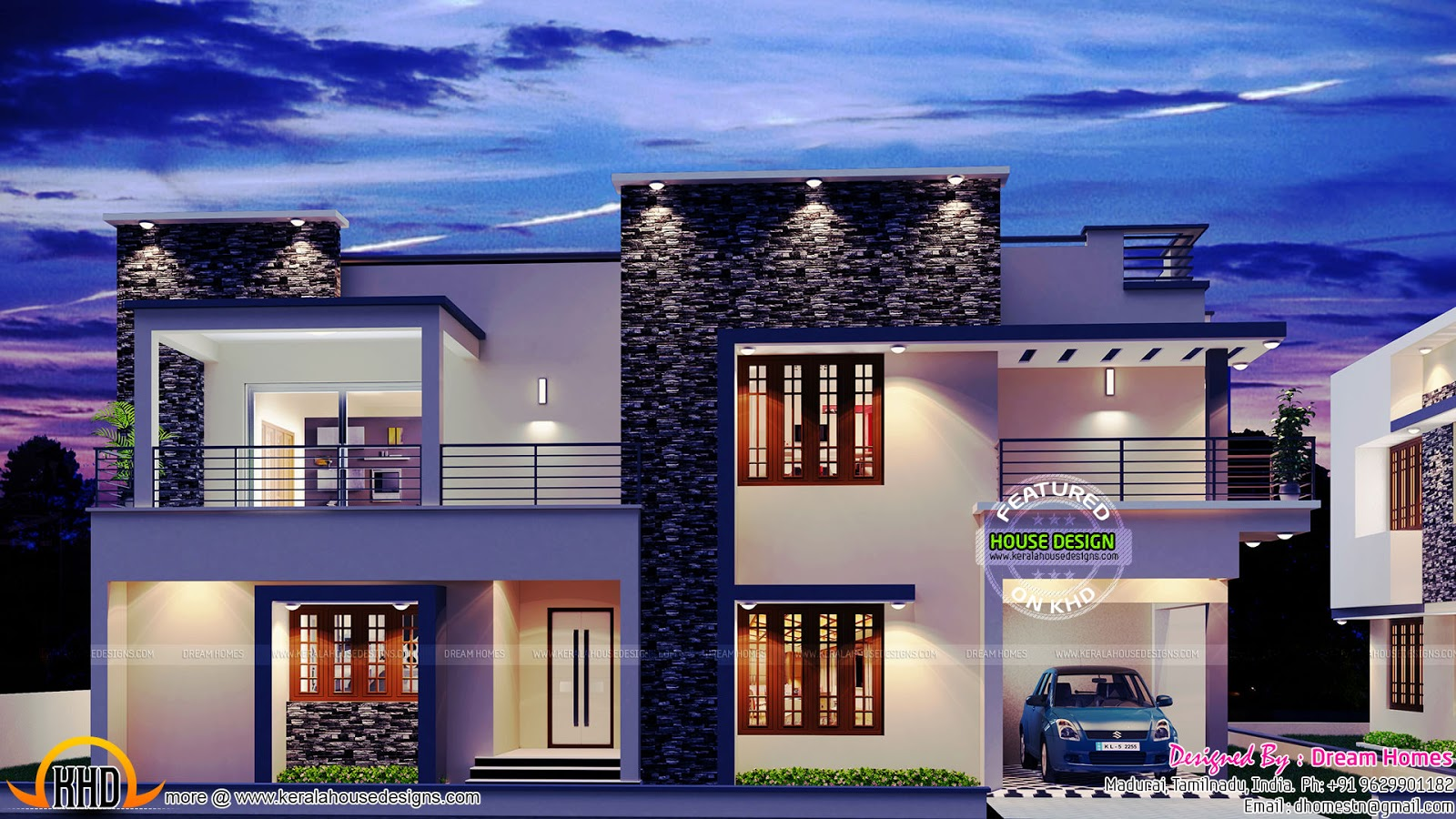 2975 sq ft contemporary villa kerala home design and for Contemporary villa plans