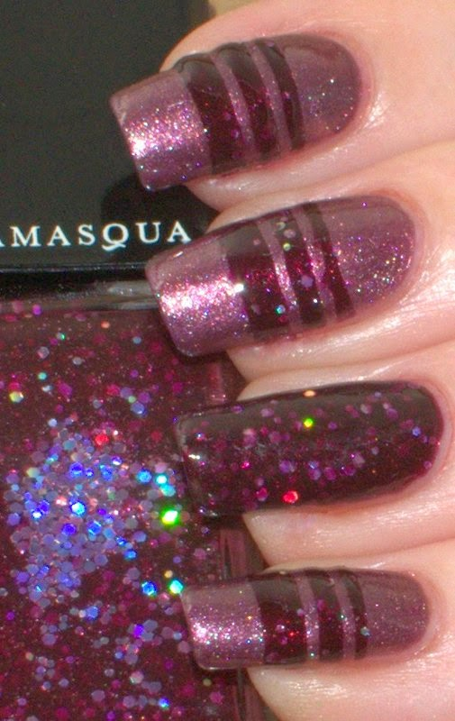 OPI Meet Me On The Star Ferry with Illamasqua Glitterati striping nail art
