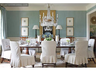 Beth Ellsey Designed This Gorgeous Dining Room Featuring Monogrammed Slipcovered Chairs