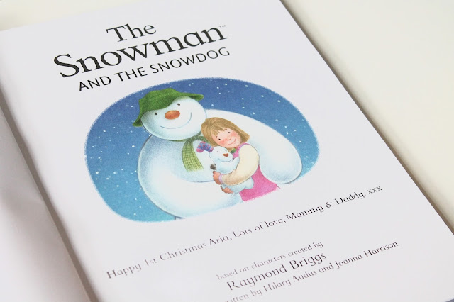 inside cover of personalised The Snowman and The Snowdog book from Pen Wizard with a personalised message