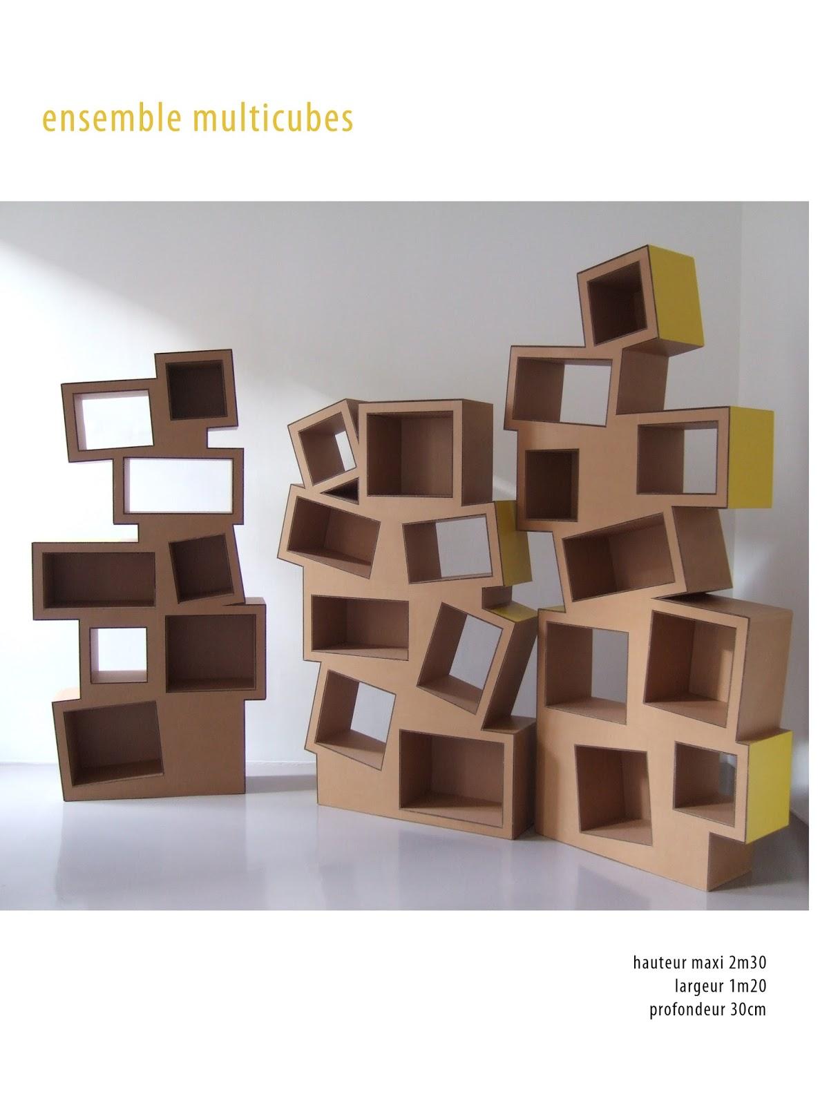 étagère en carton. meuble en carton sur mesure. fabriqué à marseille par juliadesign.