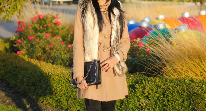 Faux fur vest outfit ideas, How to layer fur vest, affordable fur vests, camel wool coat