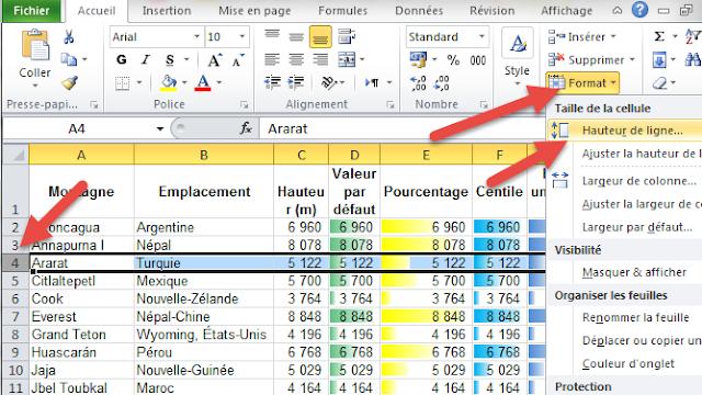 Masquer une ligne Excel - Hauteur de ligne
