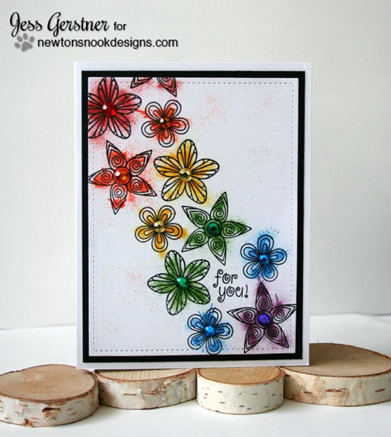 Rainbow flower Card by Jess Gerstner | Beautiful Blossoms stamp set by Newton's Nook Designs