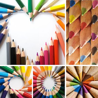 Lápices de colores en diversas composiciones