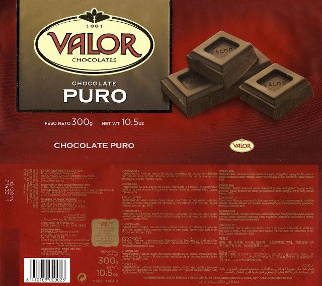 tablette de chocolat noir dégustation valor chocolate puro