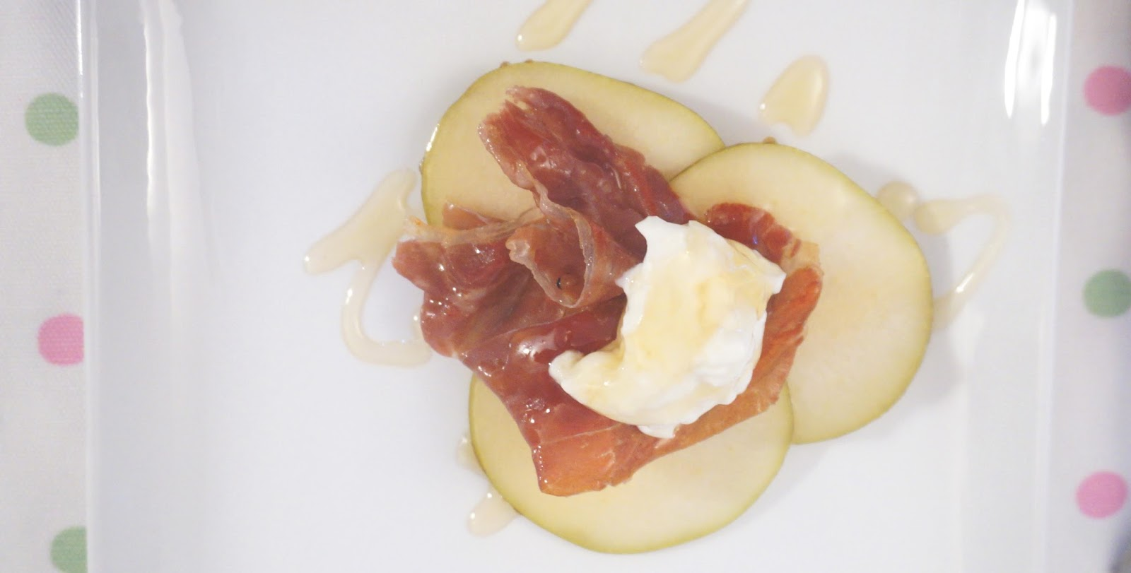 meg-made: Pear with Proscuitto and yoghurt for Brunch Dessert