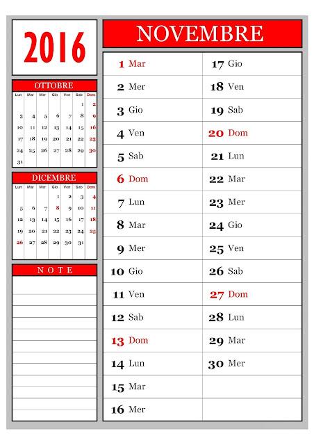 Calendario mensile - Novembre 2016