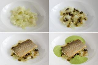 sült hal pisztráng filé kapribogyó kapri karalábé saláta zöld levél szár mustár mag mustármag
