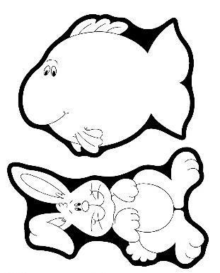 Desenho de peixe e coelho para colorir