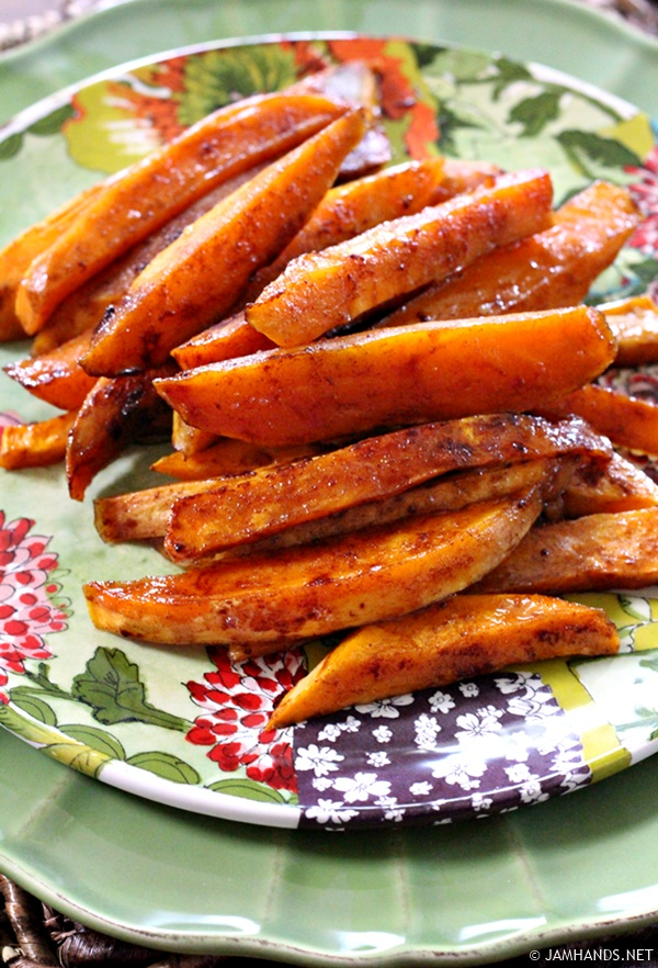 Jam Hands: Roasted Sweet Potatoes with Honey & Cinnamon Glaze