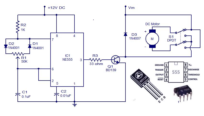 Dc Motor Controller Circuit With Ne555