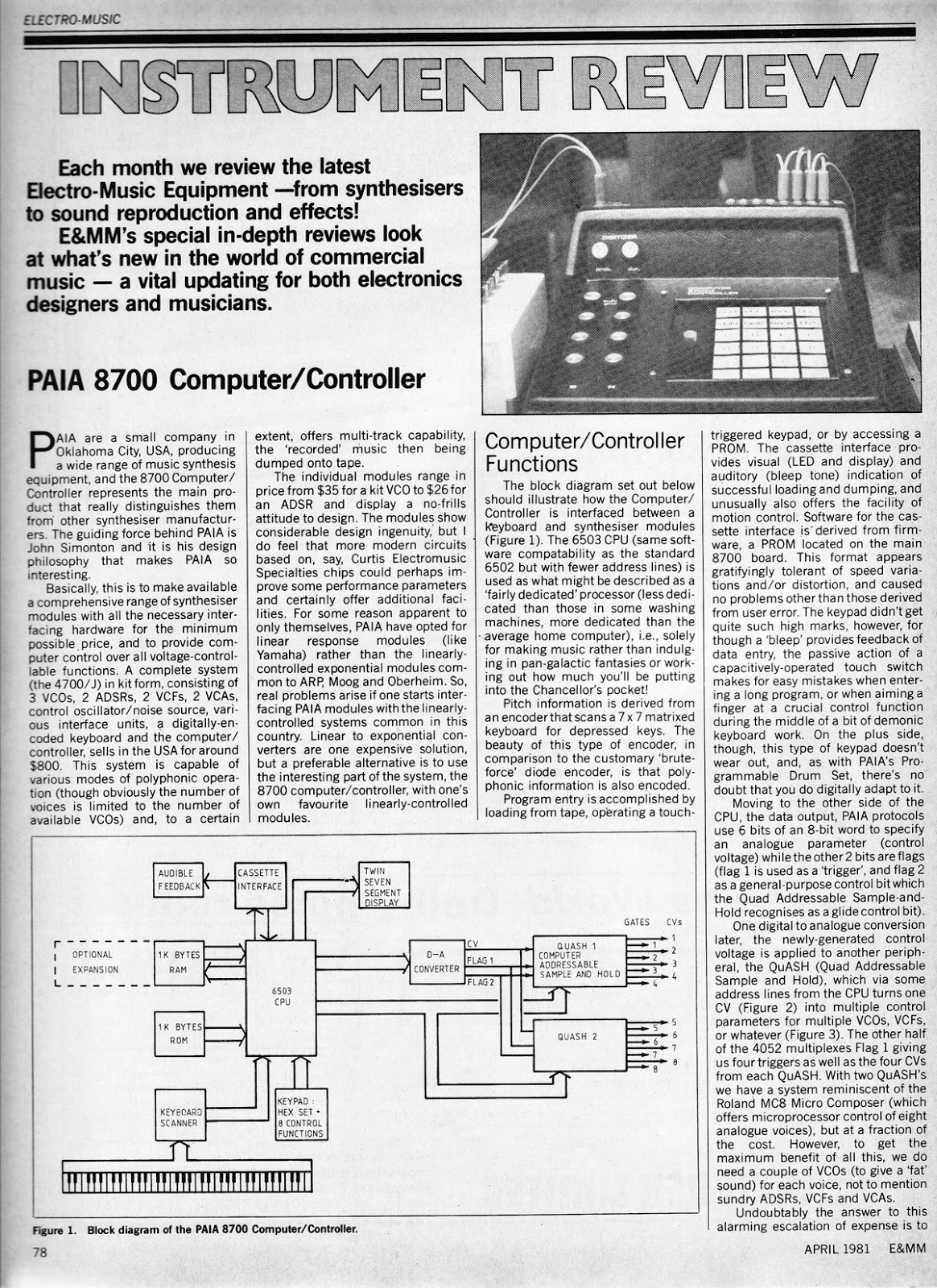 noyzelab paia computer controller review e mm  the original paia assembly user manual is available from the cloned analog gear website part1 part2 a corrected circuit diagram is available via the