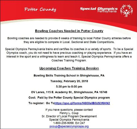 2-20-18 Special Olympics Bowling Coaches Needed