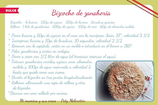 ficha receta bizcocho de zarahoria