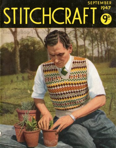 The Vintage Pattern Files: 1940's Knitting - Men's Fair Isle Pullover