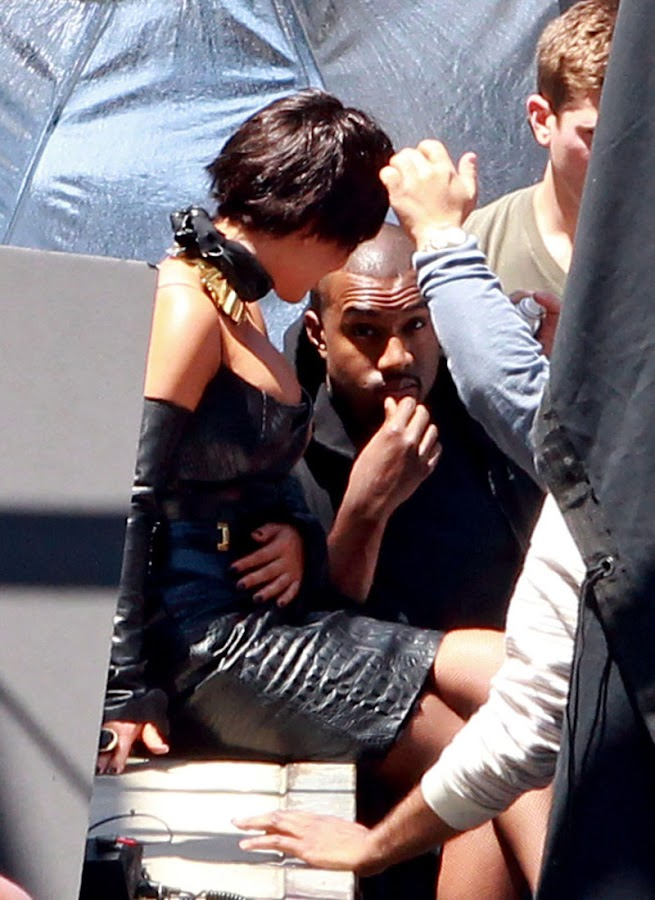 Kim was accompanied by her boyfriend Kanye West at the photo shoot