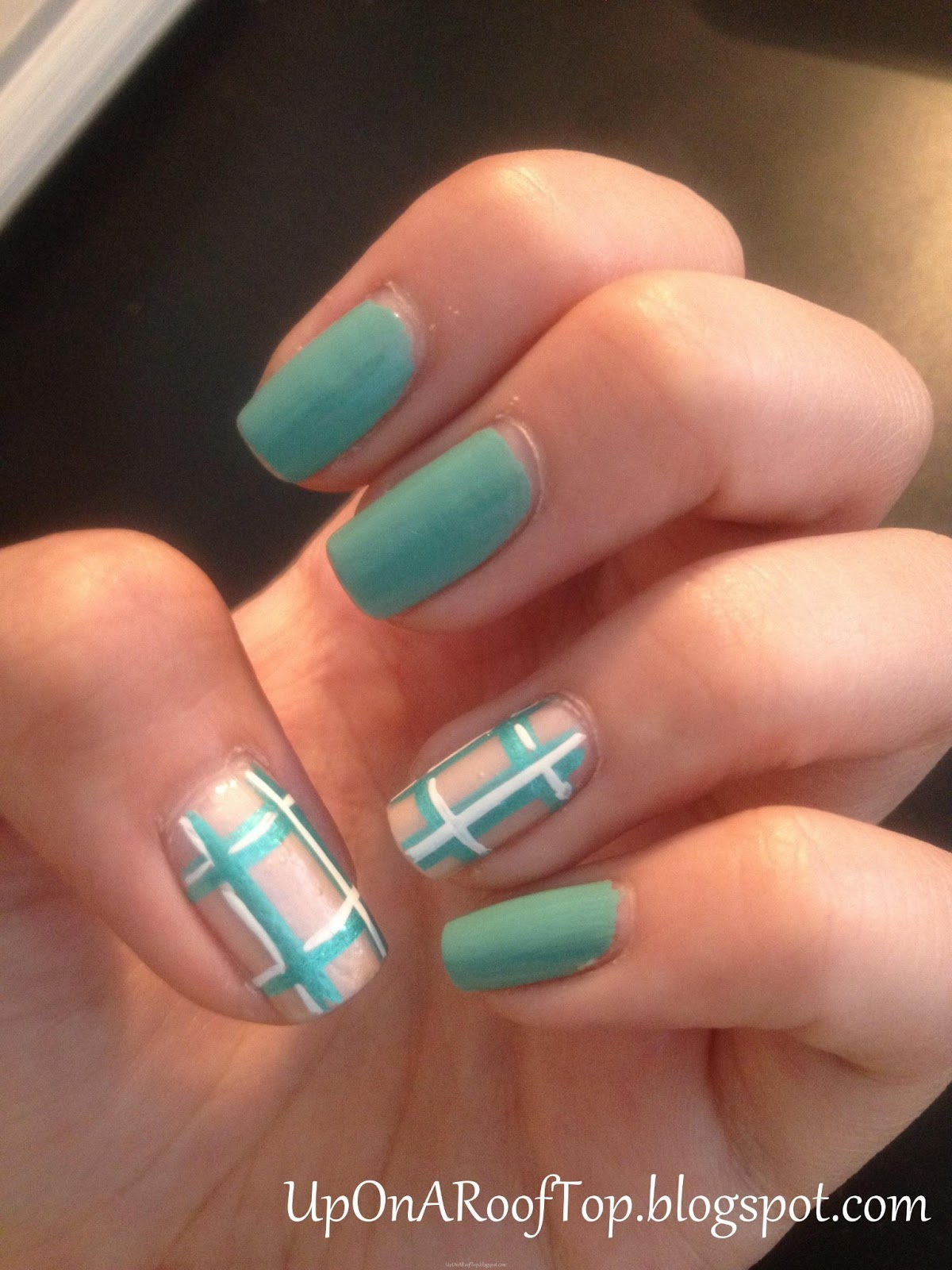 Jessica is thinking about....: Easy Teal Plaid Nail Design