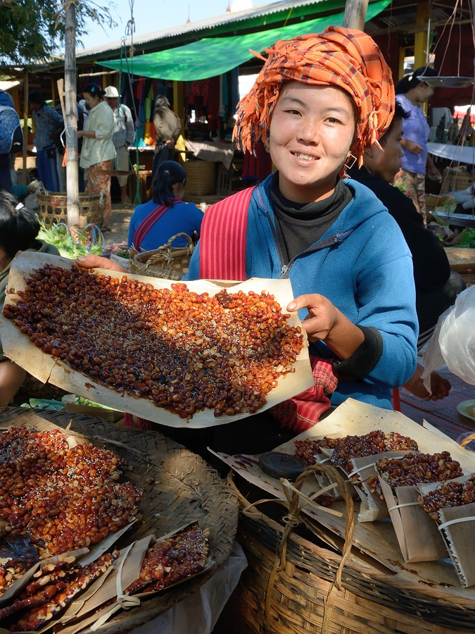 Peanut and sesame snack at floating market on Inle Lake