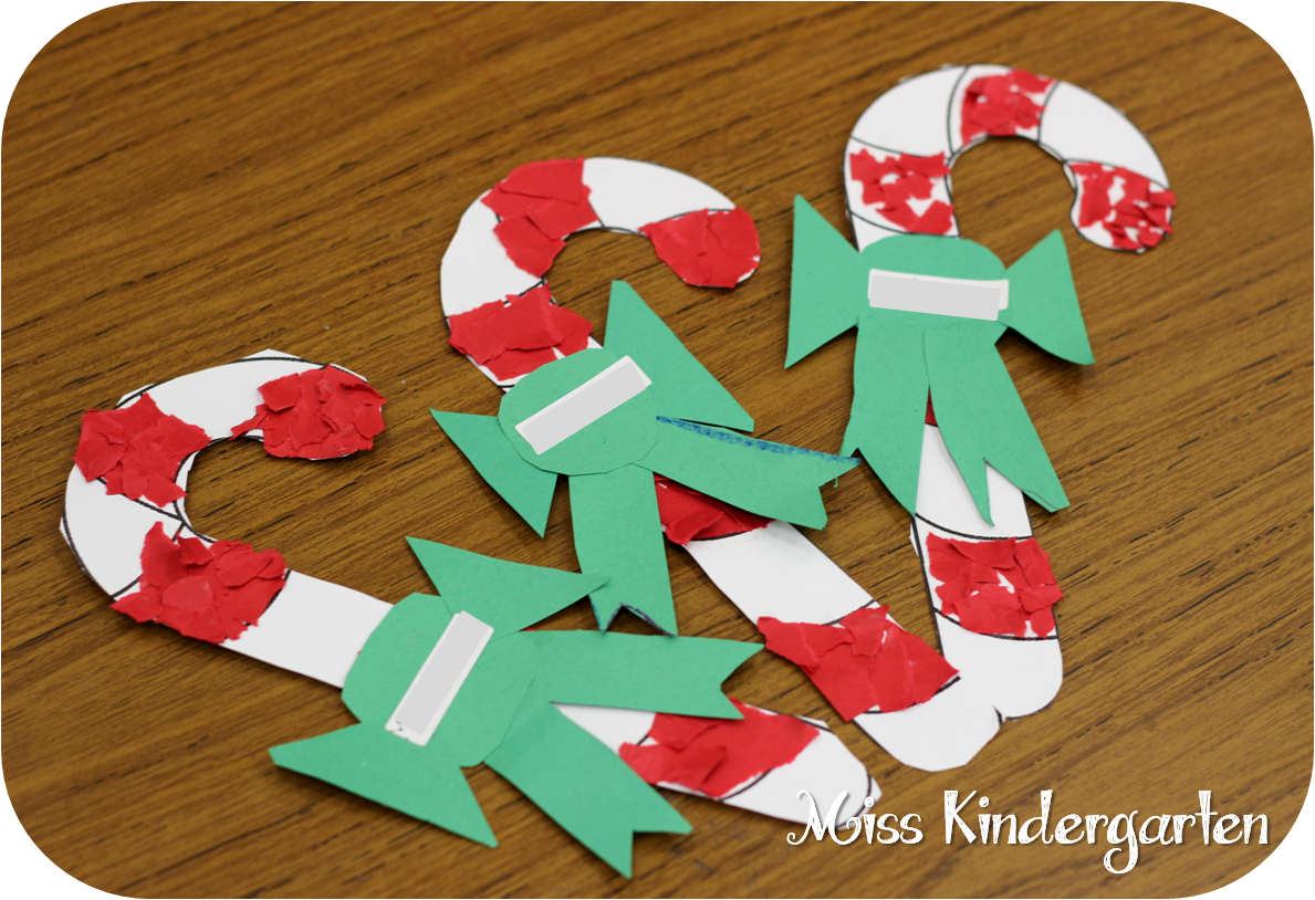 Candy cane tear art holiday craft ideas miss kindergarten for Christmas crafts for kindergarten students
