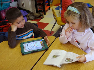 Kindergarteners using ipads