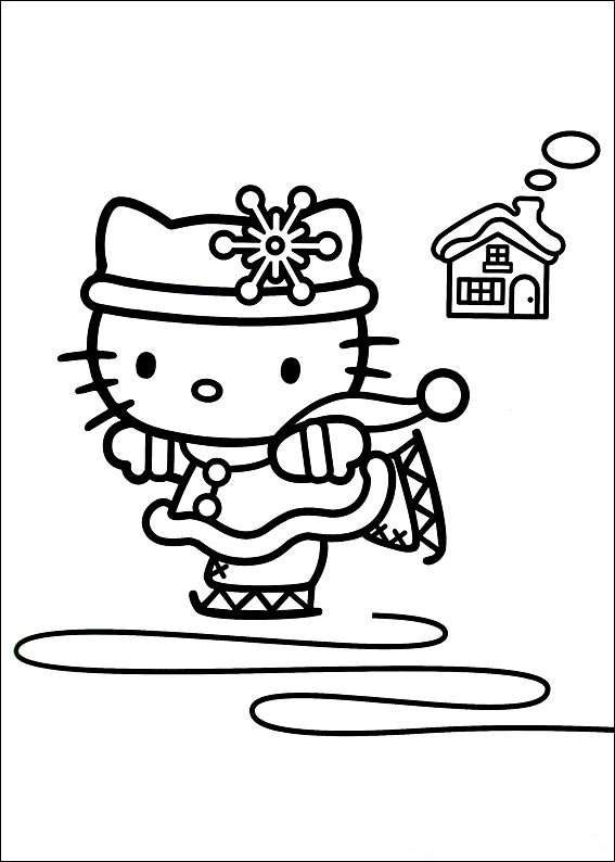 Hello Kitty Winter Coloring Pages