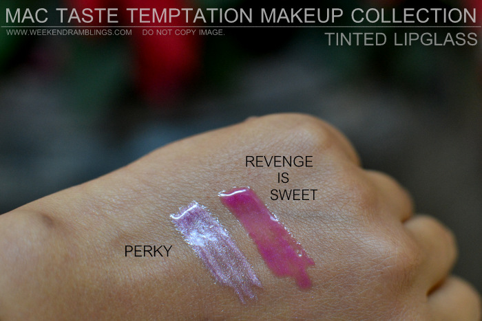 MAC Taste Temptation Makeup Collection Holiday Gifts Christmas Darker Indian Skin Swatches Beauty Blog Tinted Lipglass Perky Revenge is Sweet Good Times
