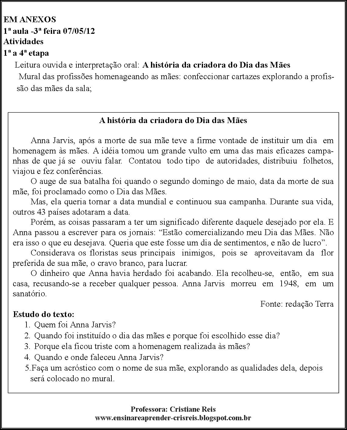 Well-known Ensinar é Aprender - Cris Reis: Plano de Aula - Dia das Mães YE83