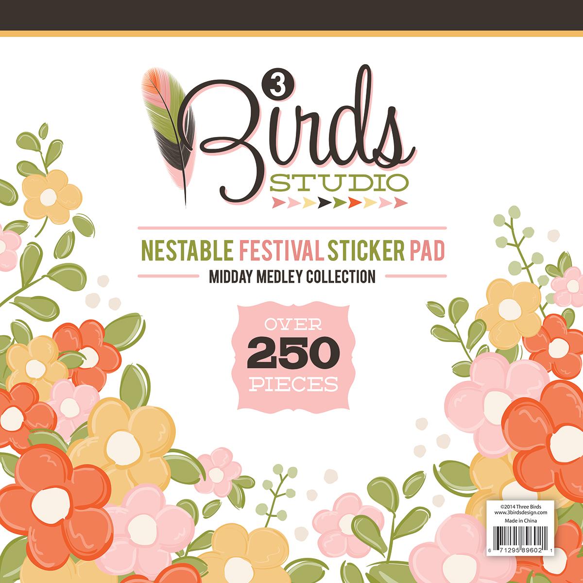 3 Birds Studio Midday Medley Nestable Festival Sticker Pad #3birdsdesign #middaymedley