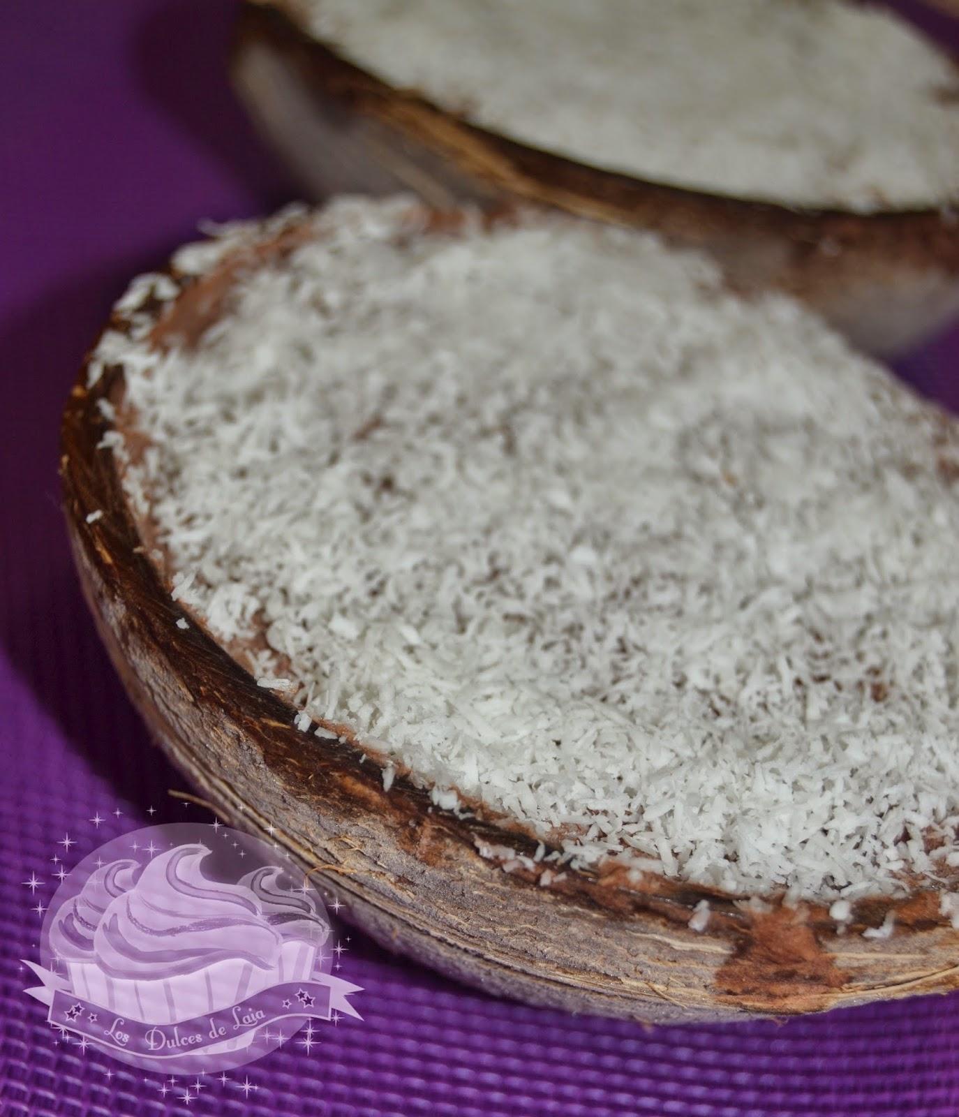 Presentación de helado de chocolate y coco