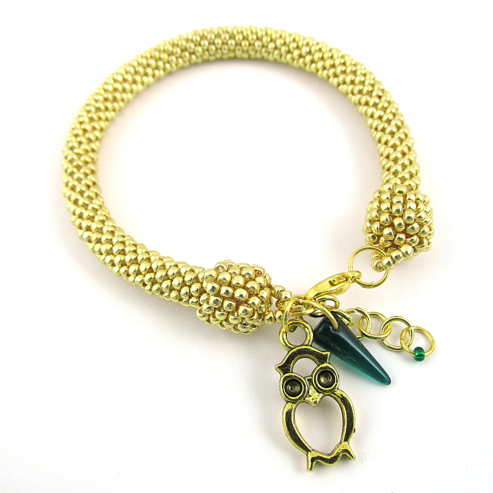 Bead crochet rope bracelet gold starlight