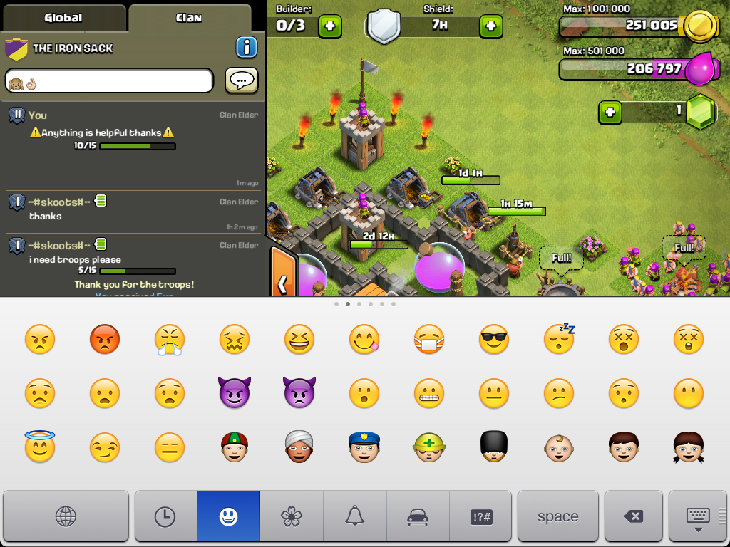 Emoji emoticons in Clash of Clans iPad/iPhone Settings CLAN SATANERS