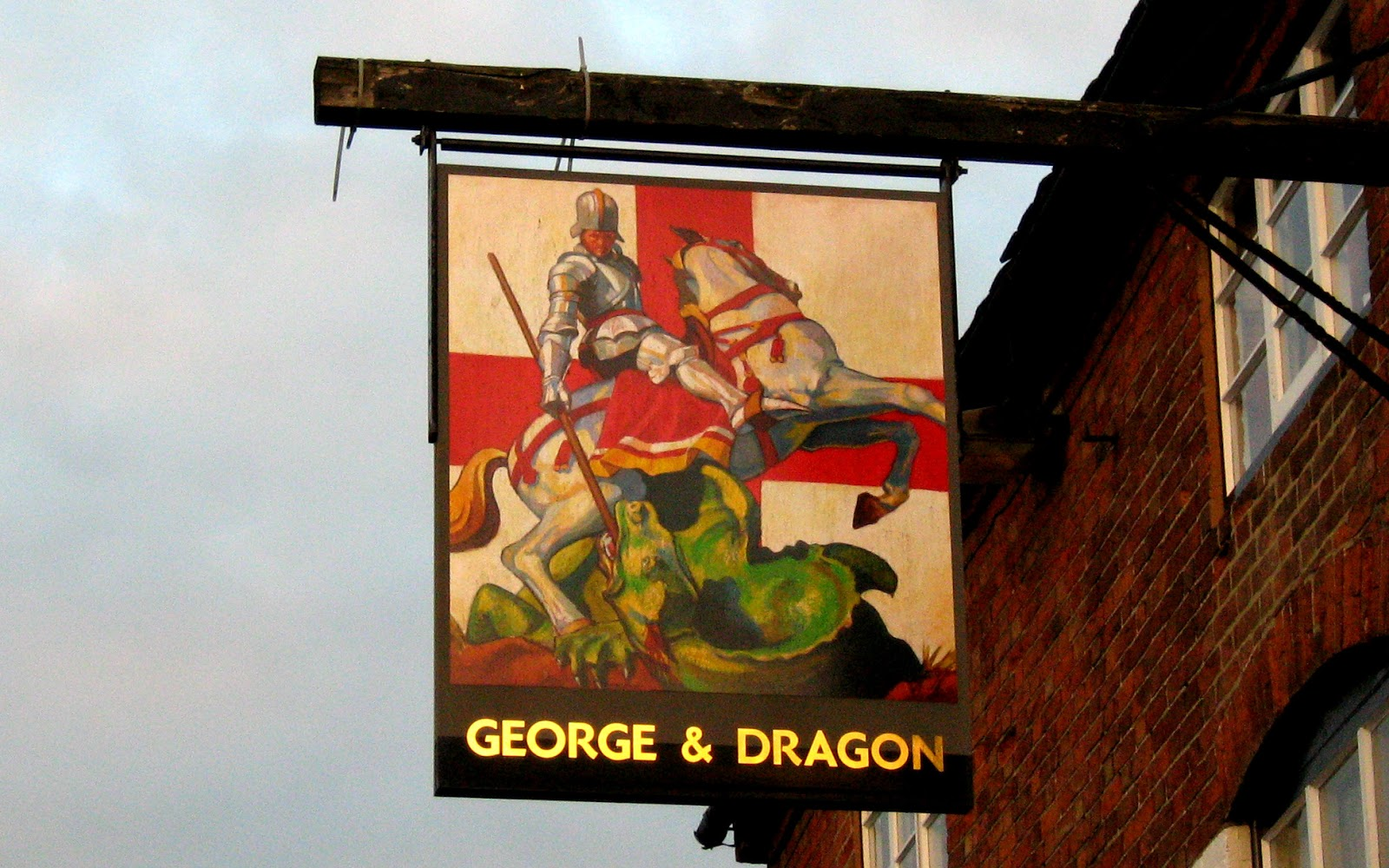 Pub sign at George & Dragon, Alrewas