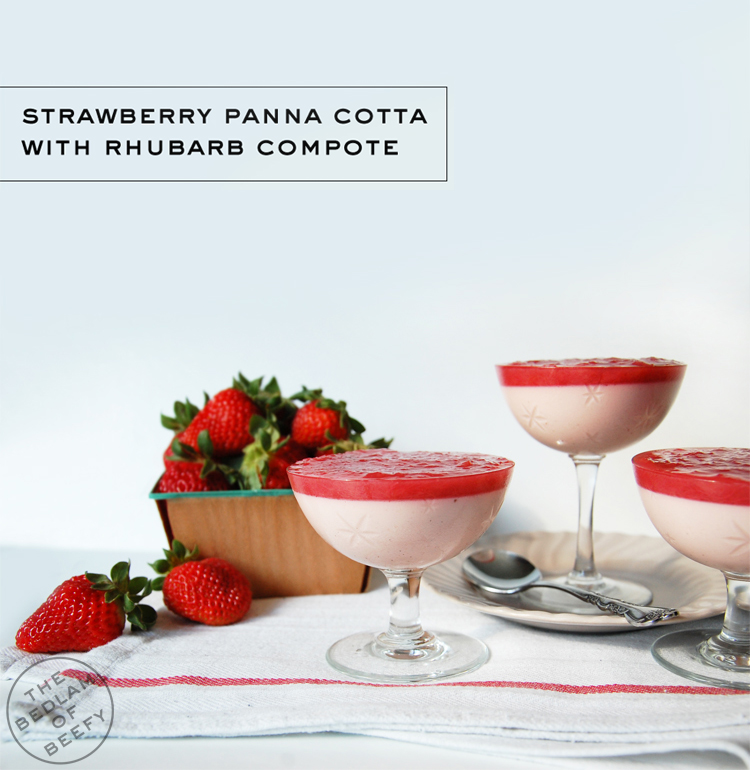 Strawberry Panna Cotta with Rhubarb Compote | The Bedlam of Beefy