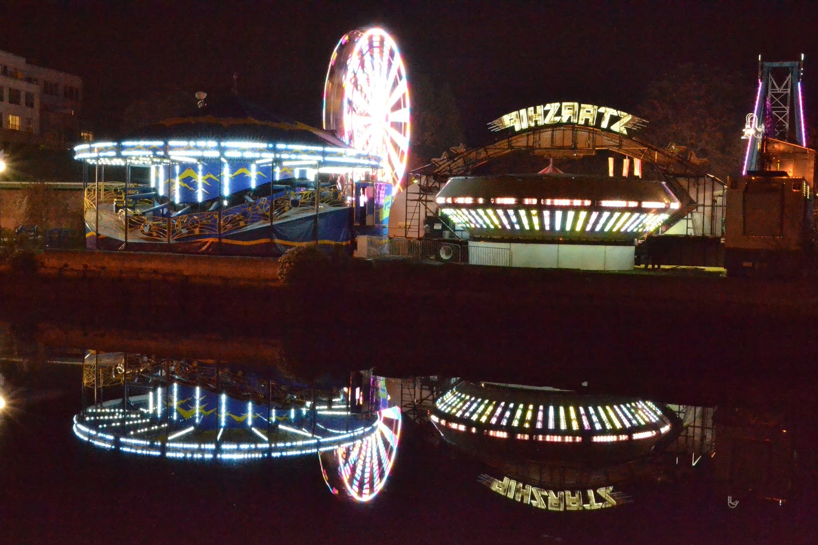 carnival, reflection, night, salem, haunted happenings, bright color