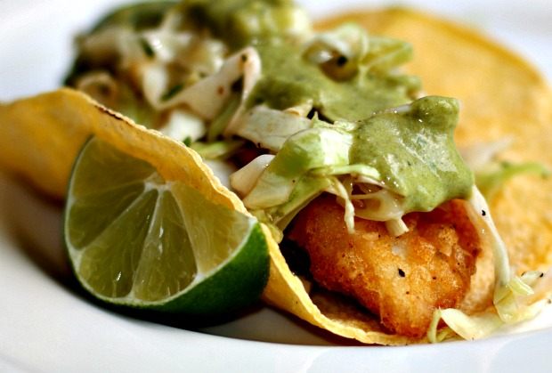 Recipes for divine living beer battered fish tacos with for Fish taco batter recipe