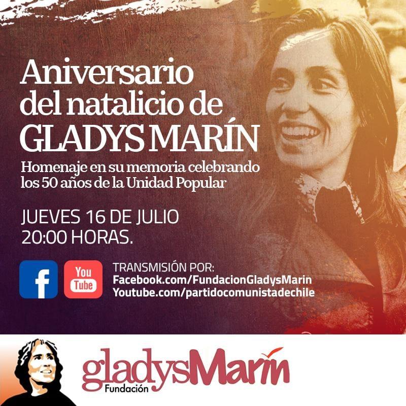 Aniversario del natalicio de GLADYS MARÍN. JUEVES DE 16 DE JULIO.