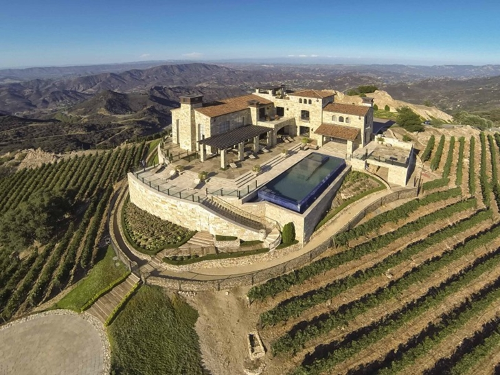 Mediterranean style vineyards home in Malibu from the air