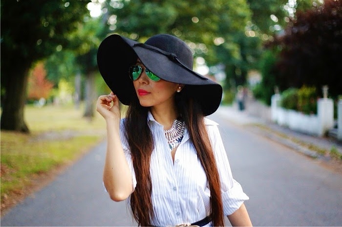 Missguided denim jacket,hermes bracelet,nastygal floppy hat,fall essential, fall fashion, shirt dress,celine bag, alice+olivia booties, baublebar pearl studs, baublebar statement necklace, rayban sunglasses, streetstyle, shallwesasa, nyc