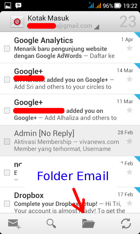 buka folder email