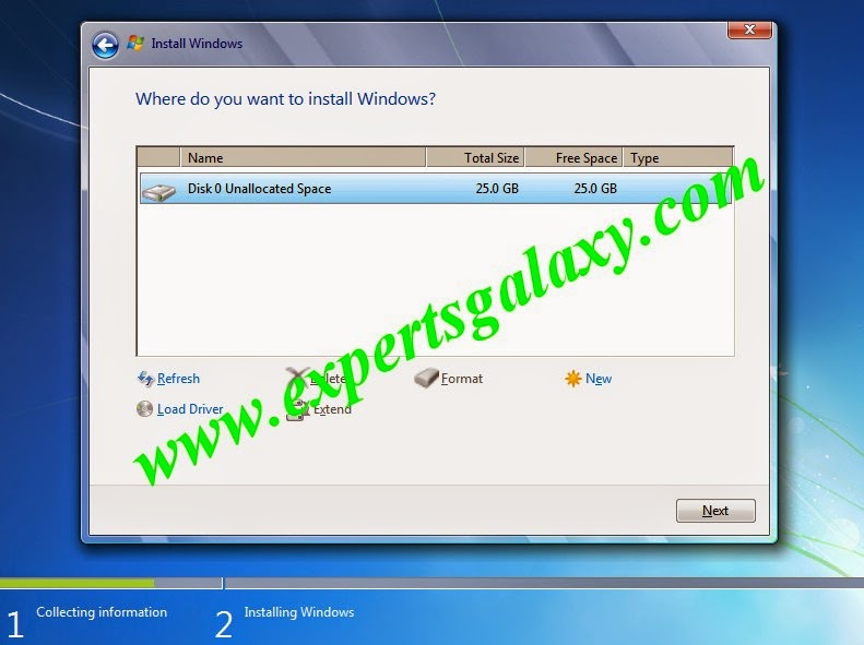 Select Windows 7 Installation Partition