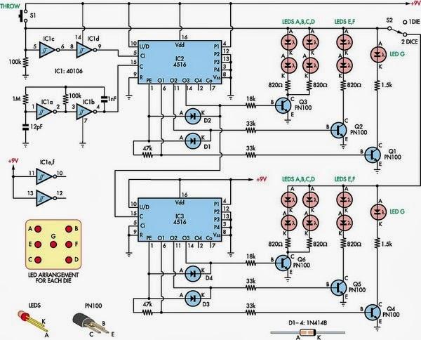 Dual Digital Dice Circuit Diagram