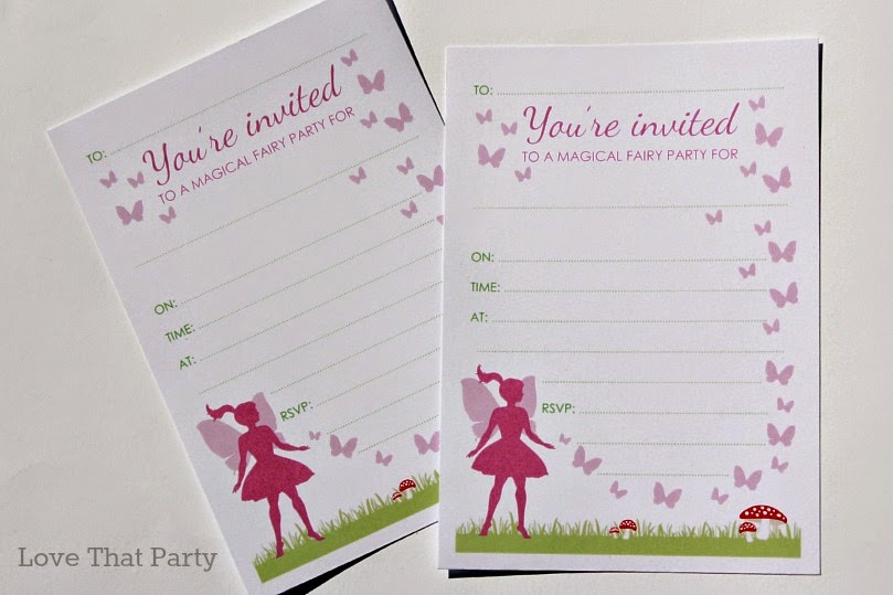 Image of kids fairy birthday party invitations with toadstools in pink and green