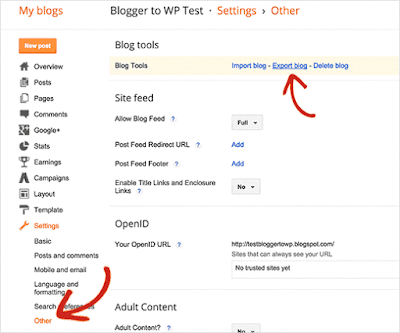 export blogger to wordpress settings