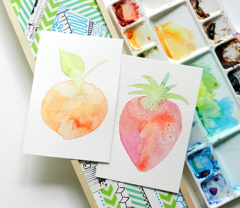 Watercolor Fruit Silhouette Paintings: Grow Creative