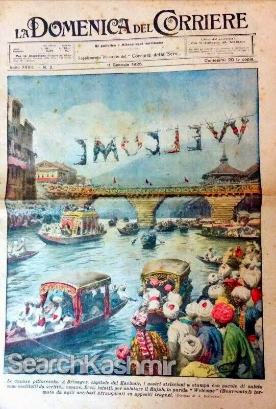Kashmir cover of Italian weekly newspaper newspaper 'La Domenica Del Corriere', 11 January, 1925. Illustration by Achille Beltrame.