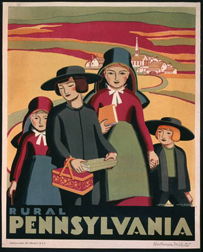 vintage, vintage posters, retro prints, classic posters, graphic design, travel posters, travel, free download, pennsylvania, Rural Pennsylvania - Vintage Travel Poster