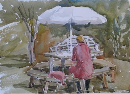 Acuarela: Danielle pintando