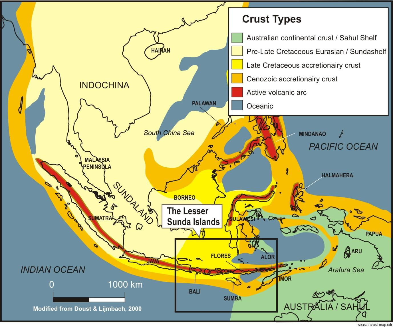 map of southeast asia showing the different crustal type in the region and the location map of the lesser sunda islands after doust lijmbach 1997