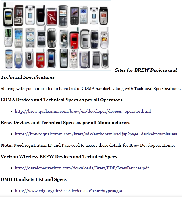 List of Sites for All BREW Handsets and Specs